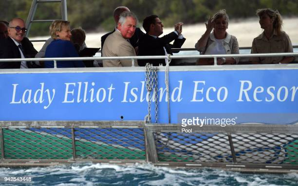 Prince Charles Prince of Wales attends a roundtable meeting discussing coral resilience on Lady Elliot Island on April 6 2018 in Queensland Australia...