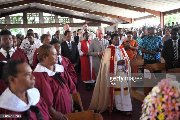 Prince Charles Prince of Wales attends a service at the Cathedral Church of St Barnabas in Honiara Solomon Islands After the service concluded he met...