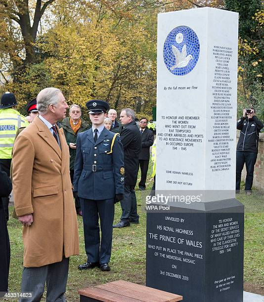 Prince Charles Prince of Wales attends a Service of Dedication and unveils a memorial to honour and remember the women who flew out of RAF Tempsford...