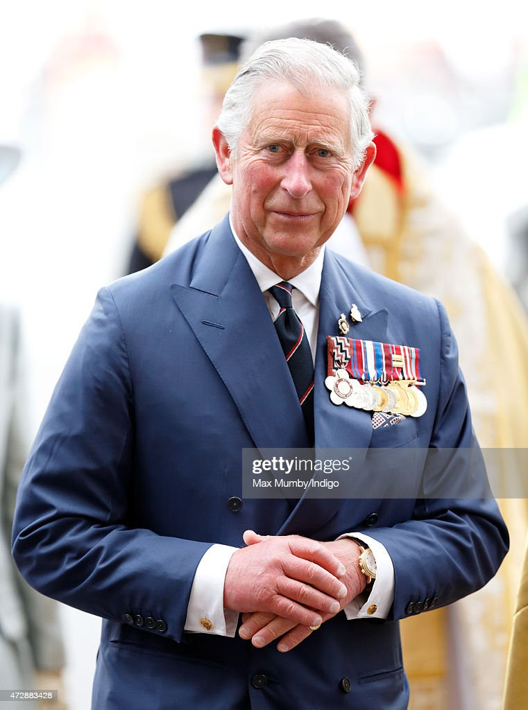 Prince Charles, Prince of Wales attends a Service of Thanksgiving to mark the 70th Anniversary of VE Day at Westminster Abbey on May 10, 2015 in London, England.