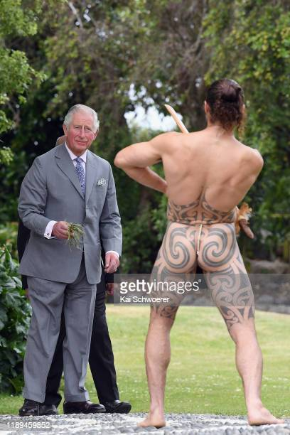 Prince Charles, Prince of Wales attends a traditional welcome ceremony at Takahanga Marae on November 23, 2019 in Kaikoura, New Zealand. The Prince...