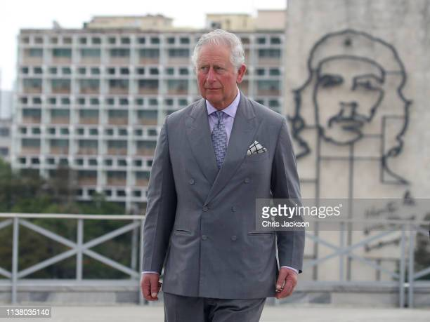 Prince Charles, Prince Of Wales attends a wreath laying ceremony at the Jose Marti Memorial on March 24, 2019 in Havana, Cuba.