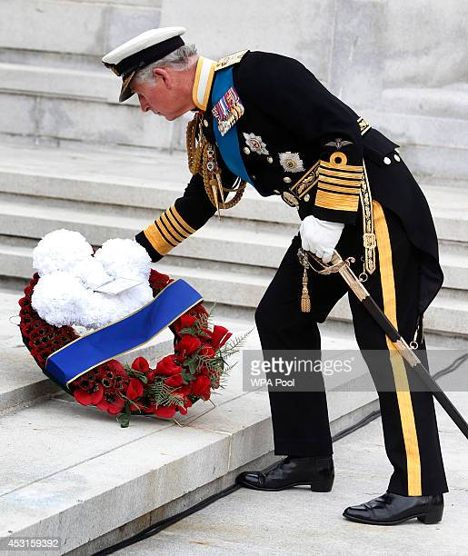 Prince Charles Prince Of Wales attends a wreathlaying ceremony at the cenotaph in Glasgow to commemorate the centenary of the start of World War One...