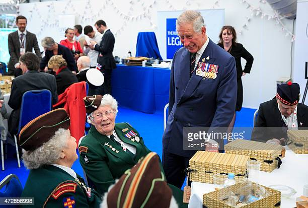 Prince Charles Prince of Wales attends an afternoon tea reception hosted by The Royal British Legion in honour of the veterans attending the 70th...