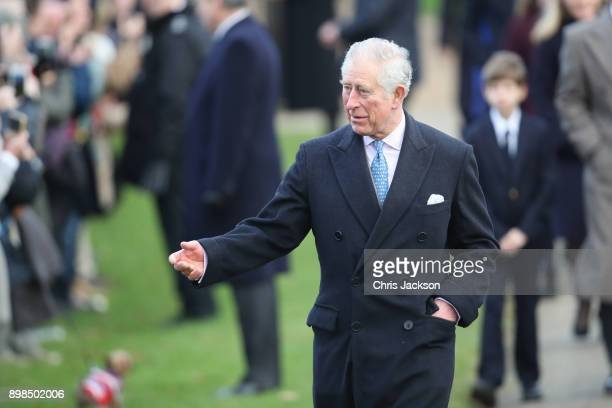 Prince Charles Prince of Wales attends Christmas Day Church service at Church of St Mary Magdalene on December 25 2017 in King's Lynn England