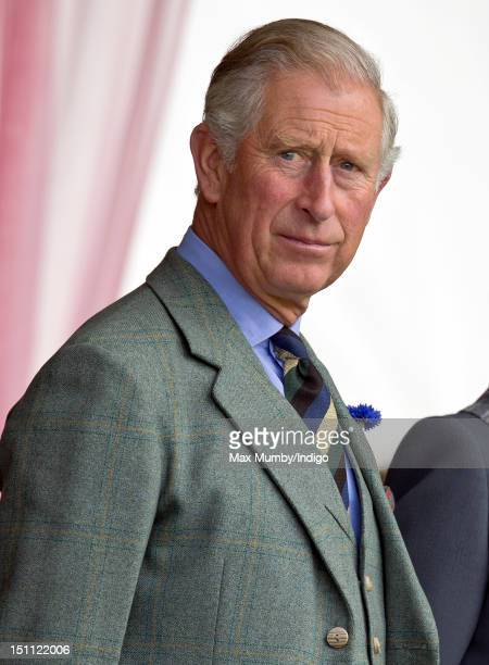 Prince Charles Prince of Wales attends the 2012 Braemar Highland Gathering at The Princess Royal Duke of Fife Memorial Park on September 1 2012 in...