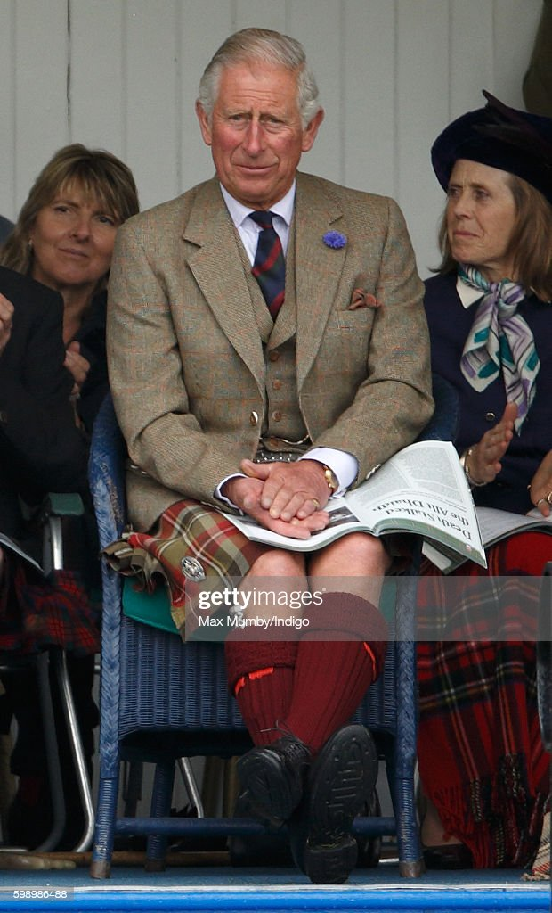 Prince Charles, Prince of Wales attends the 2016 Braemar Highland Gathering at The Princess Royal and Duke of Fife Memorial Park on September 3, 2016 in Braemar, Scotland. There has been an annual gathering at Braemar, in the heart of the Cairngorms National Park, for over 900 years. The current gathering, in the form of a Highland Games and run by the Braemar Royal Highland Society (BRHS), takes place on the first Saturday in September and sees competitors in Running, Heavy Weights, Solo Piping, Light Field and Solo Dance watched by around 16000 spectators.