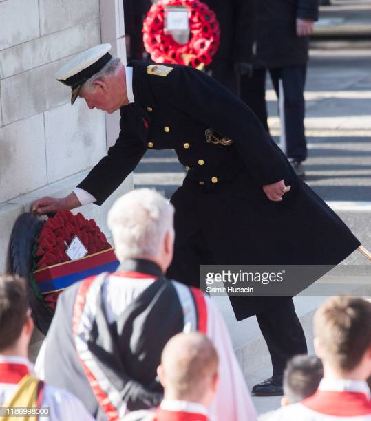 Prince Charles Prince of Wales attends the annual Remembrance Sunday memorial at The Cenotaph on November 10 2019 in London England