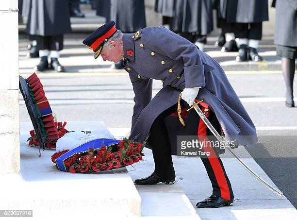 Prince Charles Prince of Wales attends the annual Remembrance Sunday Service at the Cenotaph on Whitehall on November 13 2016 in London England The...