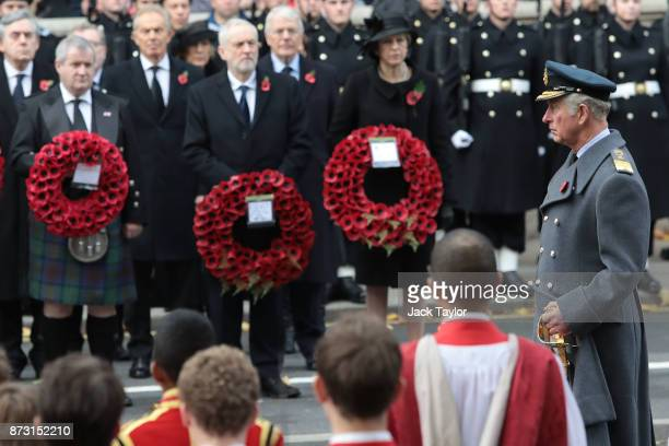 Prince Charles Prince of Wales attends the annual Remembrance Sunday memorial at the Cenotaph on Whitehall on November 12 2017 in London England The...