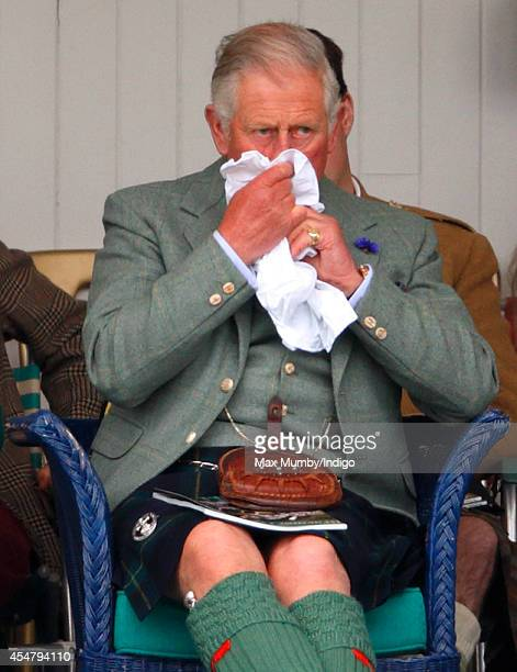 Prince Charles Prince of Wales attends the Braemar Gathering at the The Princess Royal and Duke of Fife Memorial Park on September 6 2014 in Braemar...