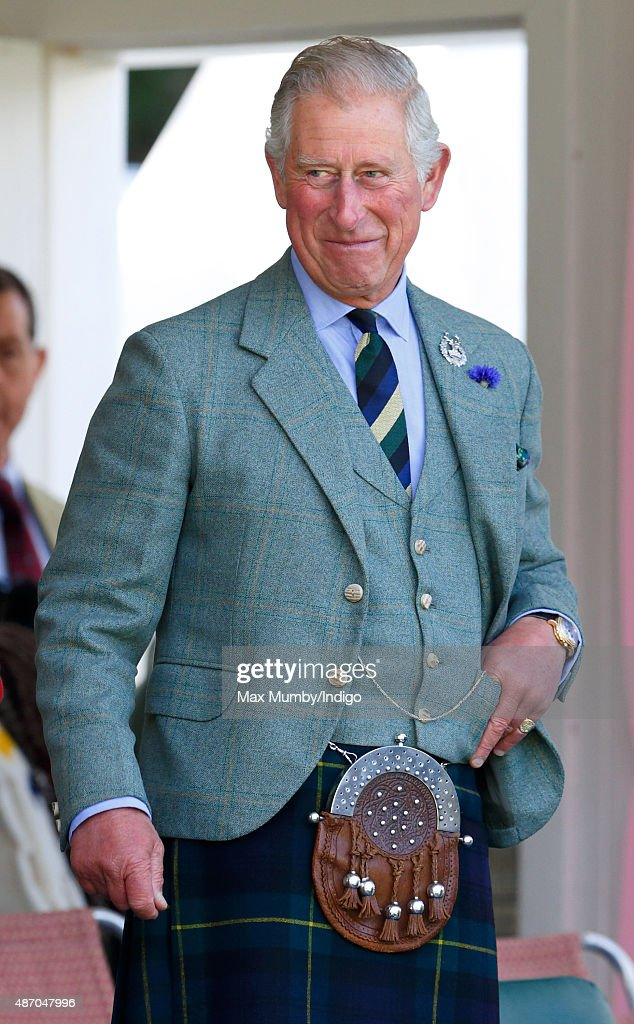 Prince Charles, Prince of Wales attends the Braemar Gathering at The Princess Royal and Duke of Fife Memorial Park on September 5, 2015 in Braemar, Scotland. There has been an annual gathering at Braemar, in the heart of the Cairngorms National Park, for over 900 years. The current gathering, in the form of a Highland Games and run by the Braemar Royal Highland Society (BRHS), takes place on the first Saturday in September and sees competitors in Running, Heavy Weights, Solo Piping, Light Field and Solo Dance watched by around 16000 spectators. This year the BRHS commemorate their bi-centenary. Members of the Royal family often attend the event and Her Majesty the Queen is Chieftain of the Braemar Gathering.