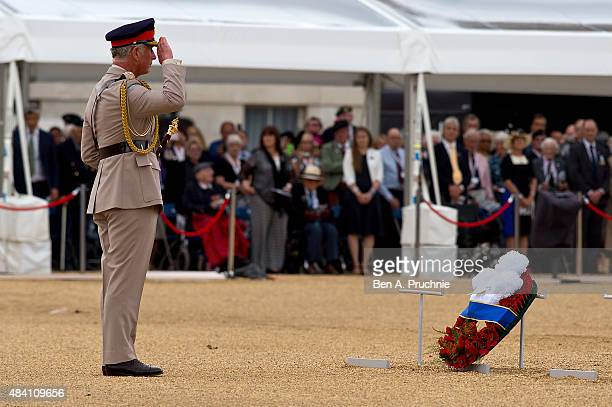 Prince Charles Prince of Wales attends the Drumhead Service during the 70th Anniversary commemorations of VJ Day on Horse Guards Parade on August 15...