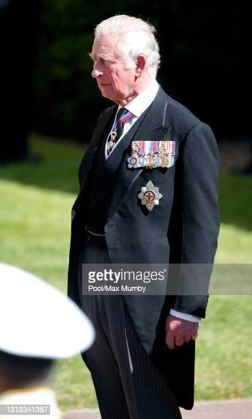 Prince Charles, Prince of Wales attends the funeral of Prince Philip, Duke of Edinburgh at St. George's Chapel, Windsor Castle on April 17, 2021 in...