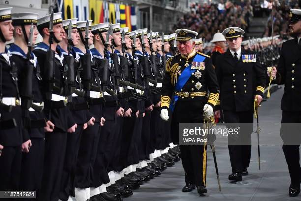 Prince Charles, Prince of Wales attends the official commissioning ceremony of HMS Prince of Wales on December 10, 2019 in Portsmouth, England.