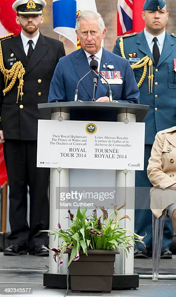 Prince Charles Prince of Wales attends the official welcome ceremony at Grand Parade at The Cenotaph on May 19 2014 in Halifax Canada