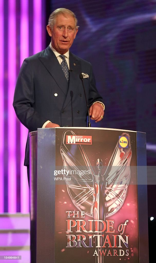 Prince Charles, Prince of Wales attends the Pride Of Britain awards at the Grosvenor House Hotel, on October 29, 2012 in London, England.