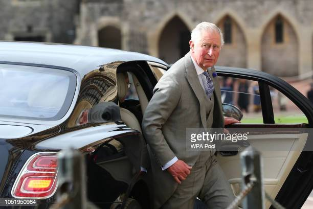 Prince Charles Prince of Wales attends the wedding of Princess Eugenie of York to Jack Brooksbank at St George's Chapel on October 12 2018 in Windsor...