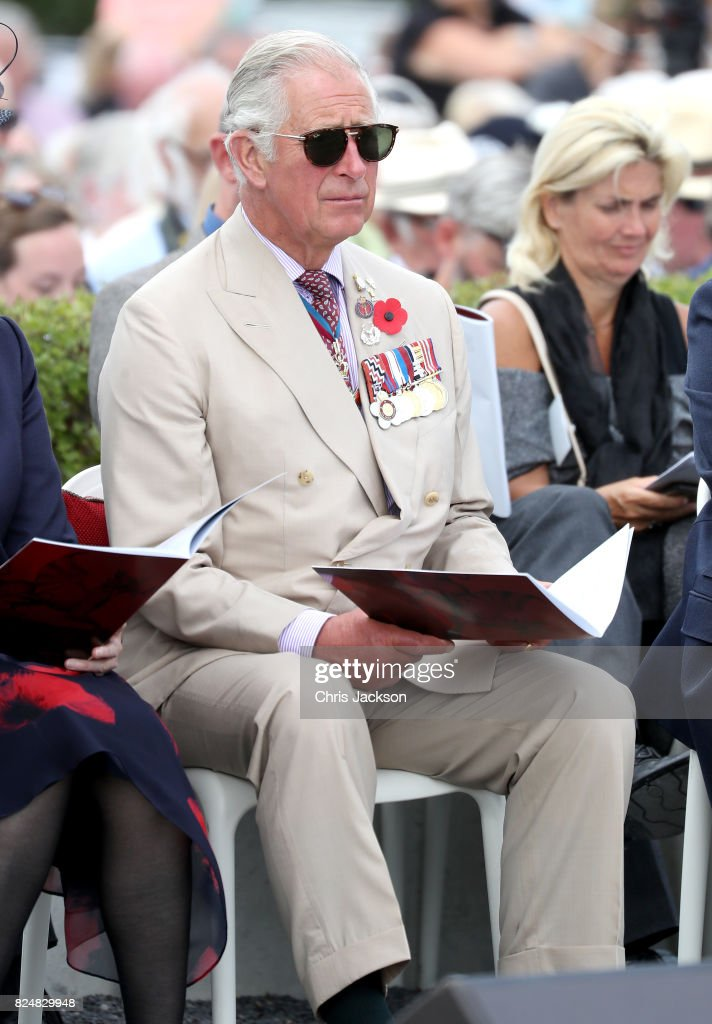 Prince Charles, Prince of Wales attends the Welsh National Service of Remembrance at the Welsh National Memorial Park to mark the centenary of Passchendaele on July 31, 2017 in Ypres, Belgium. The commemorations mark the centenary of Passchendaele - The Third Battle of Ypres and the Welsh National Memorial is dedicated to all those from Wales who took part and lost their lives in the First World War. The memorial is comprised of a bronze dragon mounted on five Welsh Stones from a quarry in Pontypridd.