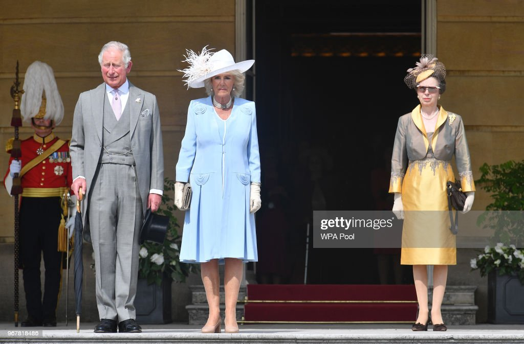 Prince Charles, Prince of Wales, Camilla, Duchess of Cornwall and Princess Anne, Princess Royal attend a Buckingham Palace Garden Party at Buckingham Palace on June 5, 2018 in London, England.