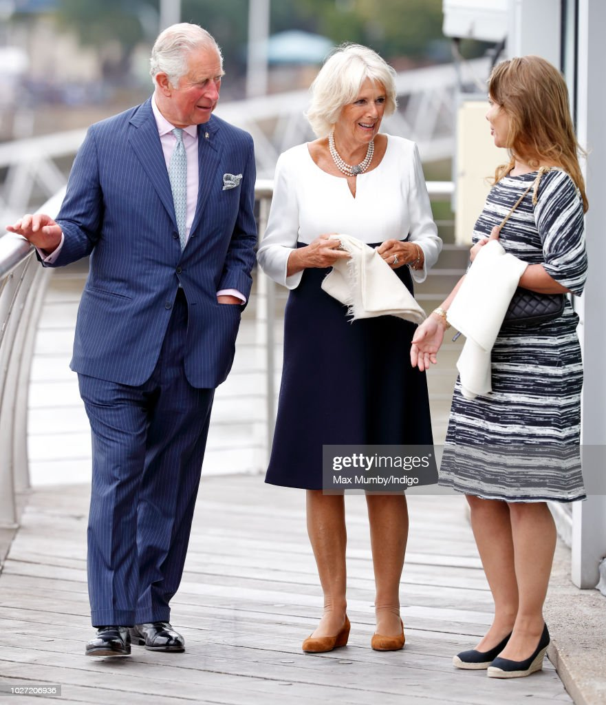The Prince Of Wales And Duchess Of Cornwall Visit The 'Maiden' Yacht : News Photo