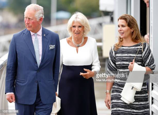 Prince Charles Prince of Wales Camilla Duchess of Cornwall and Princess Haya Bint Al Hussein visit the newly refurbished 'Maiden' Yacht at HMS...