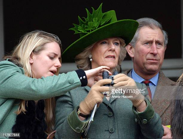 Prince Charles Prince of Wales Camilla Duchess of Cornwall and Laura ParkerBowles attend Gold Cup Day at Cheltenham Races on March 17 2006