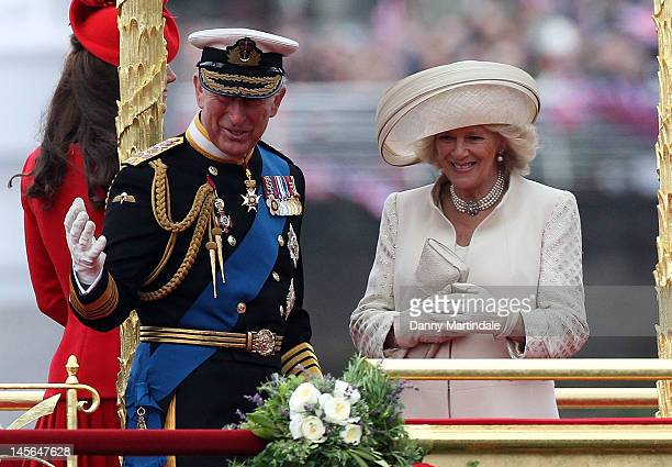 Prince Charles, Prince of Wales, Camilla, Duchess of Cornwall and Catherine, Duchess of Cambridge take part in The Thames River Pageant, as part of...