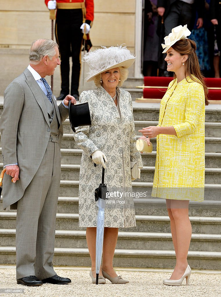 Prince Charles, Prince of Wales, Camilla, Duchess of Cornwall and Catherine, Duchess of Cambridge attend a Garden Party in the grounds of Buckingham Palace hosted by Queen Elizabeth II on May 22, 2013.