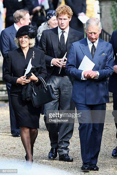 Prince Charles Prince of Wales Camilla Duchess of Cornwall and Prince Harry attend a thanksgiving service for Gerald Ward godfather of Prince Harry...