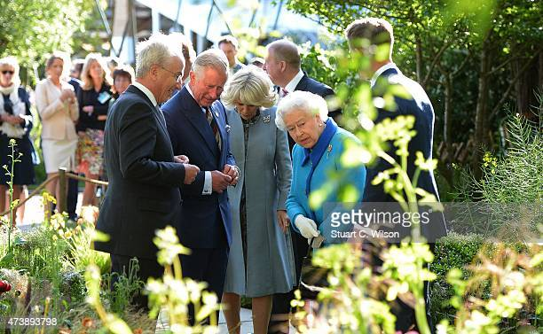 Prince Charles Prince Of Wales Camilla Duchess Of Cornwall and Queen Elizabeth II attend the annual Chelsea Flower show at Royal Hospital Chelsea on...