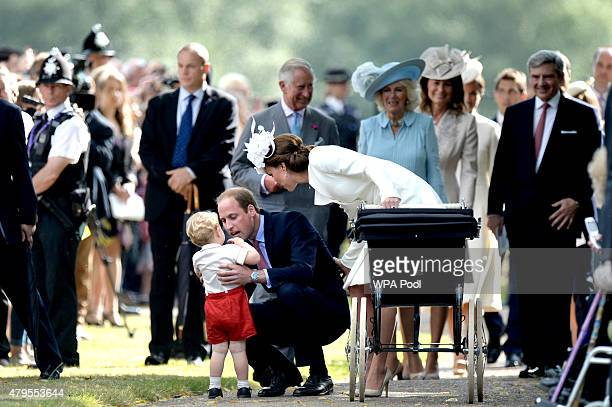 Prince Charles Prince of Wales Camilla Duchess of Cornwall Carole Middleton and Michael Middleton walk behind Catherine Duchess of Cambridge Prince...