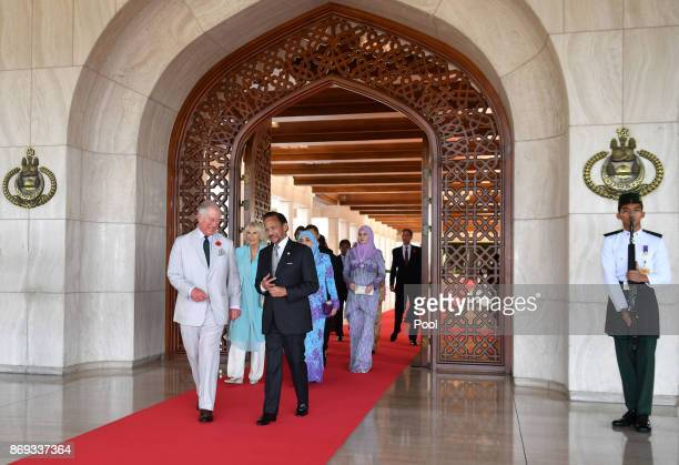 Prince Charles Prince of Wales Camilla Duchess of Cornwall his Majesty Hassanal Bolkiah The Sultan of Brunei and Her Majesty Raja Isteri attend the...