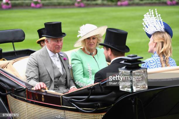 Prince Charles Prince of Wales Camilla Duchess of Cornwall Peter Phillips and Autumn Phillips arrive in the royal procession on day 2 of Royal Ascot...
