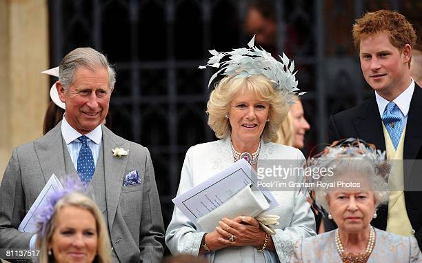 Prince Charles Prince of Wales Camilla Duchess of Cornwall Prince Harry and Queen Elizabeth II attend the wedding of Peter Phillips to Autumn Kelly...