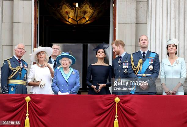 Prince Charles Prince of Wales Camilla Duchess of Cornwall Prince Andrew Duke of York Queen Elizabeth II Meghan Duchess of Sussex Prince Harry Duke...
