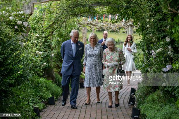 Prince Charles, Prince of Wales, Camilla, Duchess of Cornwall, Queen Elizabeth II, Prince William, Duke of Cambridge and Catherine, Duchess of...