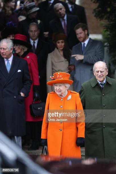 Prince Charles Prince of Wales Camilla Duchess of Cornwall Queen Elizabeth II Prince Philip Duke of Edinburgh Meghan Markle and Prince Harry attend...