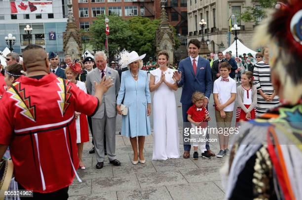 Prince Charles, Prince of Wales, Camilla, Duchess of Cornwall, Sophie Grégoire Trudeau, Justin Trudeau, Hadrien Trudeau, Xavier Trudeau and...