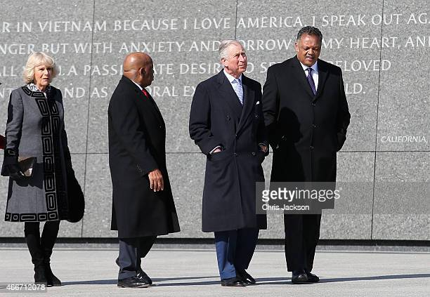 Prince Charles Prince of Wales Camilla Duchess of Cornwall walk with Congressman John Lewis and the Reverand Jesse Jackson as they visit the Martin...