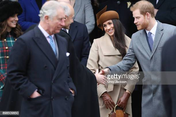 Prince Charles Prince of Wales Catherine Duchess of Cambridge Meghan Markle and Prince Harry attend Christmas Day Church service at Church of St Mary...