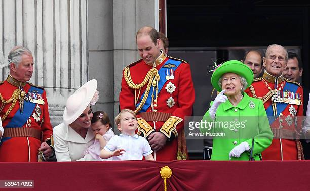 Prince Charles Prince of Wales Catherine Duchess of Cambridge Princess Charlotte of Cambridge Prince George Prince William Duke of Cambridge Queen...