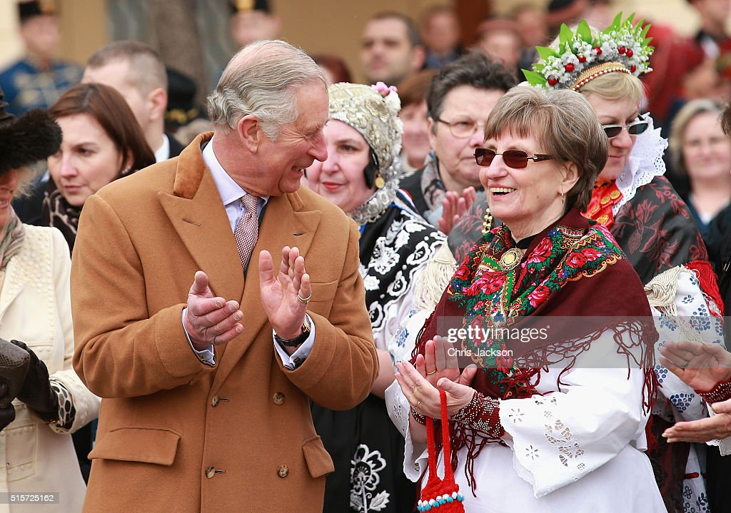 Prince Charles, Prince of Wales chats to locals in the town square on March 15, 2016 in Osijek, Croatia. The Prince and the Duchess are on the second day of a two day visit to Croatia.