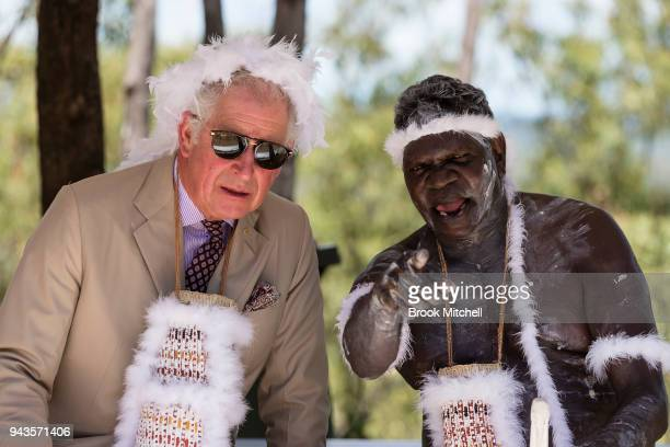 Prince Charles Prince of Wales chats with an indigenous elder during a traditional Welcome to Country Ceremony on April 9 2018 in Gove Australia The...