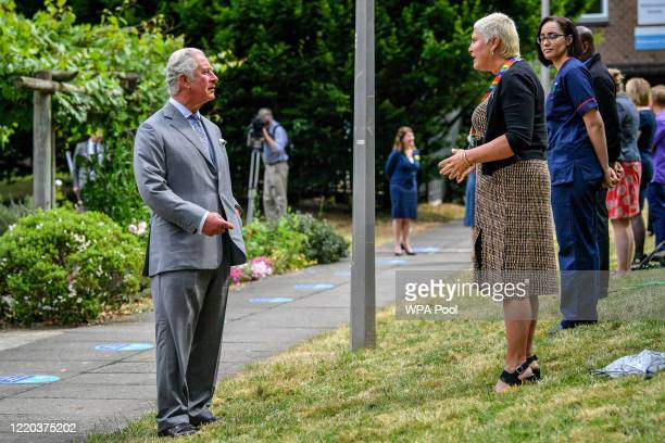 Prince Charles, Prince of Wales chats with front line key workers who who have responded to the COVID-19 pandemic during a visit to Gloucestershire...