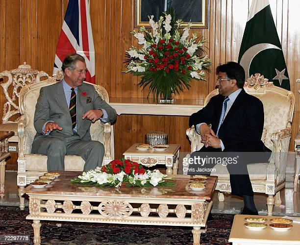 Prince Charles Prince of Wales chats with President of Pakistan Perez Musharraf at the Presidency on day two of a week long tour of the country on...