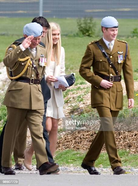 Prince Charles Prince of Wales Chelsy Davy and Prince Harry leave after Prince Harry received his flying badges at the Museum of Army Flying on May 7...