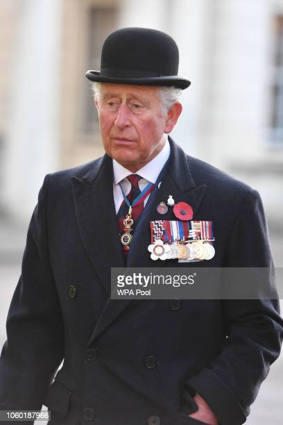 Prince Charles Prince of Wales Colonel of the Welsh Guards Regiment arrives for a remembrance service at the Guards' Chapel Wellington Barracks on...