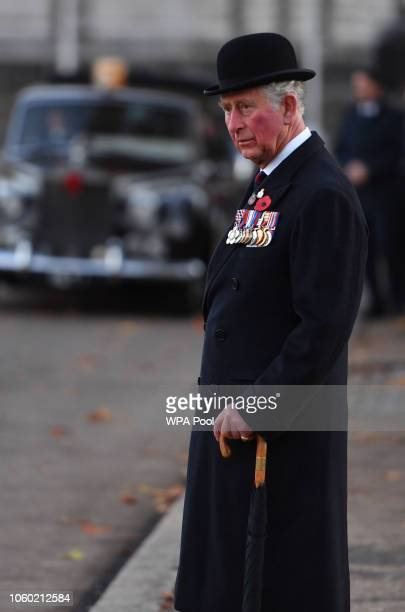 Prince Charles Prince of Wales Colonel of the Welsh Guards Regiment after a Remembrance Service at the Guards' Chapel Wellington Barrackson November...