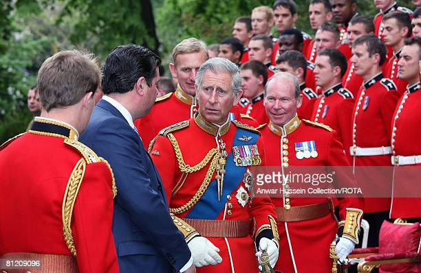 Prince Charles Prince of Wales Colonel reviews The Prince of Wales Company 1st Battalion Welsh Guards at Clarence House on May 22 2008 in London...